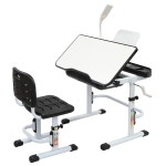 [US Warehouse] 80cm Hand-cranked Lifting Top Can Tilt Children Learning Table And Chairs with Reading Stand & USB Interface Desk Lamp