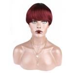 Toocci Women Natural Short Brazilian Human Hair Wig with Bangs, Length: 8 inch
