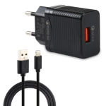 LZ-728 2 in 1 18W QC 3.0 USB Interface Travel Charger + USB to 8 Pin Data Cable Set, EU Plug, Cable Length: 1m(Black)