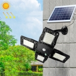 KFZR-001 7W 80 LEDs 1000LM IP65 Waterproof Solar Wall Light Split-type Adjustable Four-head Garden Light, Cable Length: 5m (Black)