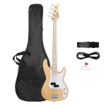 [US Warehouse] Glarry GP II Electric Bass Guitar with Bag & Strap & Paddle & Cable & Wrench Tool (Wood Color)