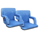 [US Warehouse] 2 PCS 21 inch Simple Style Stadium Waterproof Cushion Grandstand Chair with Beverage Bag(Dark Blue)
