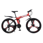 [US Warehouse] MEIYINUO 21-speed Steel Folding Double Disc Brake Mountain Bike with 26 inch Three-knives Wheel(Red)