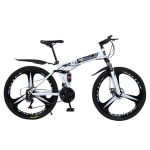 [US Warehouse] MEIYINUO 21-speed Steel Folding Double Disc Brake Mountain Bike with 26 inch Three-knives Wheel(White)