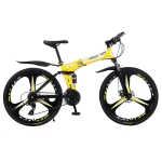 [US Warehouse] MEIYINUO 21-speed Steel Folding Double Disc Brake Mountain Bike with 26 inch Three-knives Wheel(Yellow)
