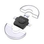 X-Flash R01 3 in 1 8 Pin + USB-C / Type-C + Micro USB Interface SD / TF Card Reader(Black)