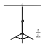 67cm T-Shape Photo Studio Background Support Stand Backdrop Crossbar Bracket with Clips, No Backdrop(Black)