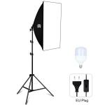 PULUZ 50x70cm Studio Softbox + 1.6m Tripod Mount + Single E27 30W 5700K White Light LED Light Bulb Photography Lighting Kit(EU Plug)