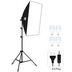 PULUZ 50x70cm Studio Softbox + 1.6m Tripod Mount + 4 x E27 30W 5700K White Light LED Light Bulb Photography Lighting Kit(EU Plug)