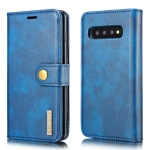 DG.MING Crazy Horse Texture Flip Detachable Magnetic Leather Case for Samsung Galaxy S10 E, with Holder & Card Slots & Wallet(Blue)