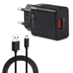 LZ-728 2 in 1 18W QC 3.0 USB Interface Travel Charger + USB to Micro USB Data Cable Set, EU Plug, Cable Length: 1m (Black)