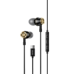 USAMS US-SJ482 EP-43 Wired In Ear USB-C / Type-C Interface Metal Digital HiFi Noise Reduction Earphones with Mic, Length: 1.2m (Black)