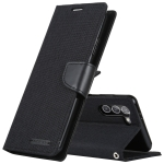For Samsung Galaxy S21+ 5G GOOSPERY CANVAS DIARY Canvas Texture Horizontal Flip PU Leather Case with Holder & Card Slots & Wallet(Black)