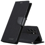 For Samsung Galaxy S21 Ultra 5G GOOSPERY CANVAS DIARY Canvas Texture Horizontal Flip PU Leather Case with Holder & Card Slots & Wallet(Black)