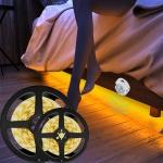 1m Wireless PIR Motion Sensor LED Strip Light 12V Smart Stair Cabinet Wall Lamp, EU plug(Warm white Light)