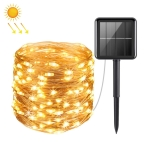 20m 200LED Solar Outdoor Waterproof Silver Wire Light String Christmas New Year Garden Decoration Garland Lights(Warm White Light)