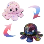 2 PCS Flipped Octopus Doll Double-Sided Flipping Doll Plush Toy(Sequined Black + Star Pink)