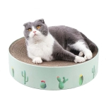 Round Corrugated Cat Scratcher Claw Sharpener Toy Bed, Colour: Green 41x41x10cm
