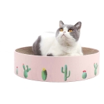 Round Corrugated Cat Scratcher Claw Sharpener Toy Bed, Colour: Pink 41x41x10cm