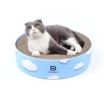 Round Corrugated Cat Scratcher Claw Sharpener Toy Bed, Colour: Cloud 41x41x10cm