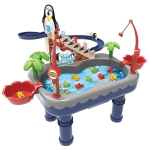 Penguin Stair Climbing Children Electric Magnetic Fishing Toy Multifunctional Game Set(Blue )
