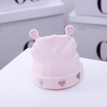 C0086 Love-heart Pattern Newborn Skullcap Winter Baby Quilted Cotton Warm Cap, Size: One Size(Pink)