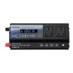 XUYUAN 6000W Car Inverter LED Colorful Atmosphere Light 4 USB Charging Converter, UK Plug, Specification: 12V-220V