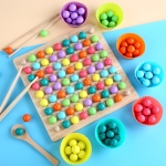 Colored Bead Flying Chess Wooden Children Board Game Educational Toy
