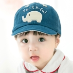 MZ6727 Spring and Autumn Small Elephant Pattern Corduroy Children Peaked Cap Baby Sunscreen Hat, Size: 48CM Adjustable(Dark Blue)