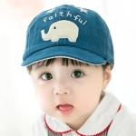 MZ6727 Spring and Autumn Small Elephant Pattern Corduroy Children Peaked Cap Baby Sunscreen Hat, Size: 48CM Adjustable(Dark Blue)