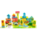 Onshine Wooden Puzzle Children Toy 62 PCS City Traffic Scene Building Blocks