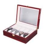 Wooden Baking Paint Watch Box Jewelry Storage Display Box(10-bit Paint)