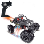 Children Four-Wheel Drive Light Spray Remote Control Off-Road Vehicle RC Model 2.4G Simulation Nitrogen Racing Toy(Silver)