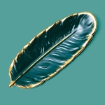 Phnom Penh Ceramic Dessert Plate Feather Plate Banana Leaf Fruit Dried Fruit Storage Tray, Size: Large (Bright Emerald)