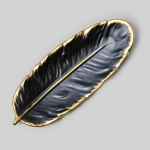 Phnom Penh Ceramic Dessert Plate Feather Plate Banana Leaf Fruit Dried Fruit Storage Tray, Size: Large (Matt Black)