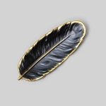 Phnom Penh Ceramic Dessert Plate Feather Plate Banana Leaf Fruit Dried Fruit Storage Tray, Size: Small (Matte  Black)