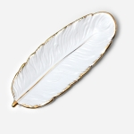 Phnom Penh Ceramic Dessert Plate Feather Plate Banana Leaf Fruit Dried Fruit Storage Tray, Size: Large (Matte White)