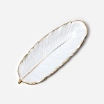 Phnom Penh Ceramic Dessert Plate Feather Plate Banana Leaf Fruit Dried Fruit Storage Tray, Size: Small (Matte White)