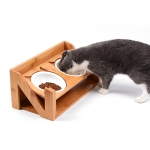 Bamboo Wood Lifting Cat Dining Table Adjustable Height Inclined Cat Bowl, Specification: N Bowl Porcelain Bowl