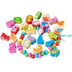 60 PCS / Set Number+Animal Children Stringing Threading Toys Early Education Cognitive Wooden Beads