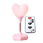 LED Heart-Shaped USB Rechargeable Night Light Three-Speed Remote Control Dimming Silicone Light, Style: 8007 Pink (Remote Control)