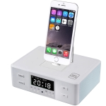D9 Wireless Bluetooth Speaker Bedside Alarm Clock Radio Rotating Mobile Phone Charging Base, US Plug / EU Plug / UK Plug(White)