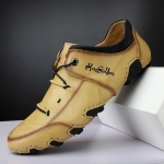 Spring And Summer Men Casual Octopus Peas Shoes Leather Outdoor Shoes, Size: 38(Beige)