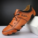 Spring And Summer Men Casual Octopus Peas Shoes Leather Outdoor Shoes, Size: 46(Light Brown)
