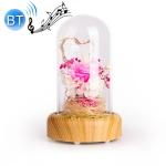 Wishing Bottle LED Night Light Immortal Flower Bluetooth Speaker Desk Lamp, Style: Pink Flower