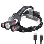 YWXLight 3LEDs 5000LM Light Sensor Headlight LED High Power Strong Light Zoom USB Rechargeable Fishing Headlight (Headlamp+USB Cable+2xBatteries)