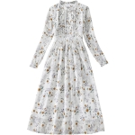 Spring Women Long Sleeve Retro Floral Chiffon Dress 8A674 (Color:White Size:XL)