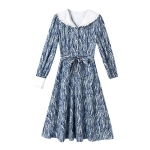 Artistic Lady Spring Dress Lapel High waist Slim A-line Skirt (Color:Blue Size:M)