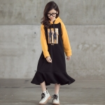 Girl Plus Velvet Thickening Ruffles Hooded Mid-length Dress (Color:Black Orange Size:120cm)