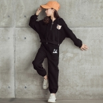Girl Plus Velvet Thickening Sport Hooded Sweater Casual Pants Two-piece Set (Color:Black Size:120cm)